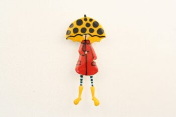 KARFITSA LADY RED COAT WITH YELLOW OPEN UMBRELLA