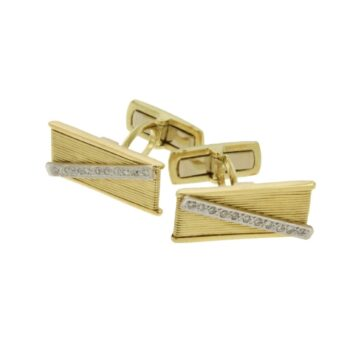 CUFF-LINKS/STRING YELLOW-DIAGONAL WHITE BR