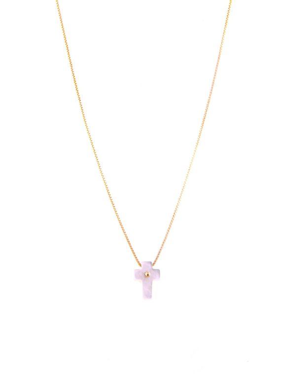 NECKLACE/9.81/CROSS WHITE MOP/BR