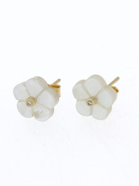 EARRING/9.81/FLOWER WHITE MOP/BR