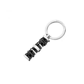 111300/KEY RING STAR BAR BICOLOUR RESIN-STAINLESS STEEL/PINK MB