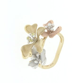 RING/ROBERTO BRAVO/DAKAHR0010/3 SATINE FLOWER-3COLOR GOLD
