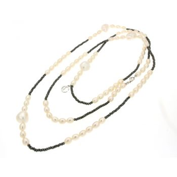 LLNKF02.1/NECKLACE WITH LRG BAROQUE-OVAL 6.5/7mm WHITE PEARL - HEMATITE/130cm