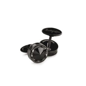 IDWOCLLC/PAROLA IPBLACK /CUFFLINKS BLACK STEEL ROUND WHITE GLASS INSIDE