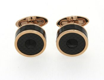 IDCFCLBR/CLASSIC FILIGREE IPROSE CARBON /CUFFLINKS ROSE STEEL ROUND CARBON WITH BLACK GLASS