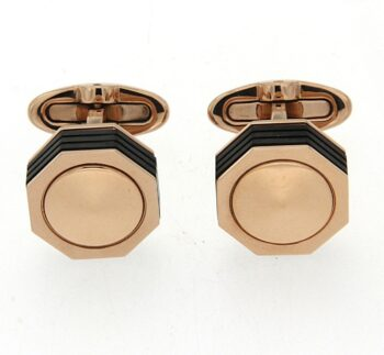 IDNRCLI1/NEROUNO ROSE CUFFLINKS /CUFFLINKS ROSE STEEL EXAGON ALL STEEL ΛΟ