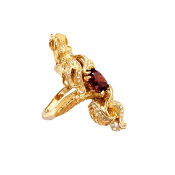 RING/CARRERA Y CARRERA/DA11289-012317/FIRE DRAGON YEL GOLD -GARNET & DIAMOND