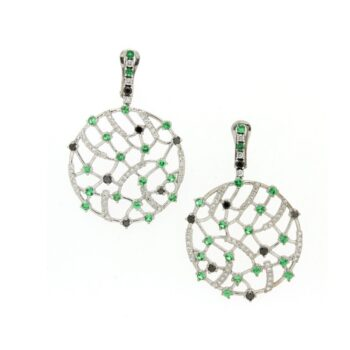 EARRING/9.81/TSAVORITE & BLACK DIAMONDS & BRILLIANT
