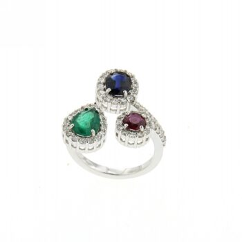 RING/HENRY/3 ROZETES/OVAL SAPPHIRE- PEAR EMERALD-ROUND RUBY