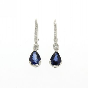 EARRING/HENRY/SAPPHIRE PEAR CUT & DIAMONDS