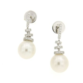 EARRING/TOURTA 3 -ROUND WHITE PEARL 11-12mm