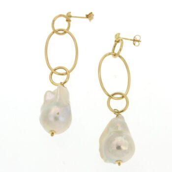 EARRING/MAZZA/BOSTON/CHAIN KRIKOI LARGE LOUSTRE-BAROQUE WHITE PEARL 2.5*1.8cm