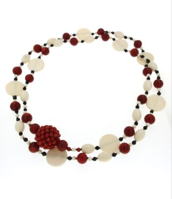 NECKLACE/N1523/BALLS XSMALL CORAL-BLACK-WHITE/100cm