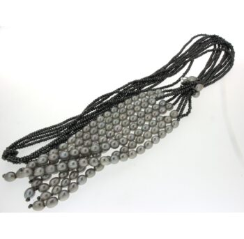 LLNKF03.1/NECKLACE KNOT WITH OVAL 6.5/7mm GREY PEARL - HEMATITE GREY/55cm