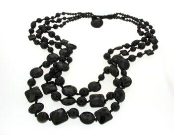 NECKLACE/CONFUORTO/14747/3 LINES MULTI SIZE BLACK ONYX/45-60-68cm