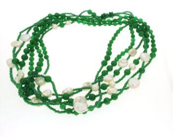 NECKLACE/CONFUORTO/3541/3 LINES GREEN SWAROVSKI-GREEN ROUND JADE -WH BAROQUE -FREE PRL/1m-1.1m-1.2m
