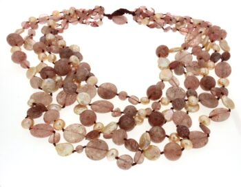 NECKLACE/CONFUORTO/14942/5 LINES PINK OPAL & PINK BAROQUE-FREE PRL/60-64-66-70-72cm