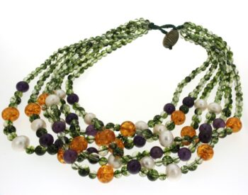 NECKLACE/CONFUORTO/40/6 LINES GREEN-AMETHYST- AMBER-WH FREE PRL/50cm