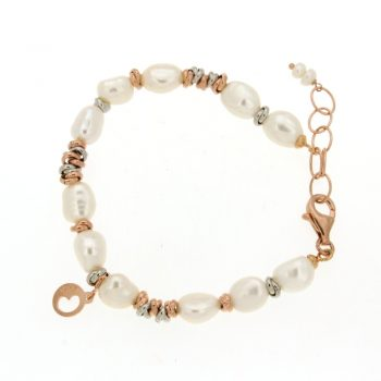 BRACELET/COSCIA/LGBR191.2.CH/11 WH BAROQUE PEARL-SML SLV(RED+WHITE) LINKS/18cm