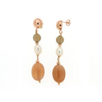 EARRINGS/COSCIA/LGEA152/1 RED SLV BALL-QUARTZ FUME-WH BAROQUE PRL- OVAL PINK MOONSTONE