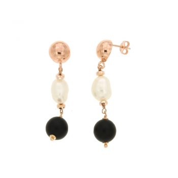 EARRINGS/COSCIA/LGEA166/1 RED SLV BALL-WH BAROQUE PRL-ONYX