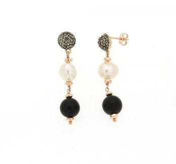 EARRINGS/COSCIA/LGEA76/1 RED SLV BALL WITH CZ BL-WH SML BAROQUE PRL- ONYX