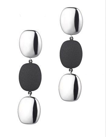 EARRING/MARCELLO PANE/ORAR078/2+2 WHITE OVAL SLV BUTTONS & 1+1 BLACK RUBBER OVAL BUTTON