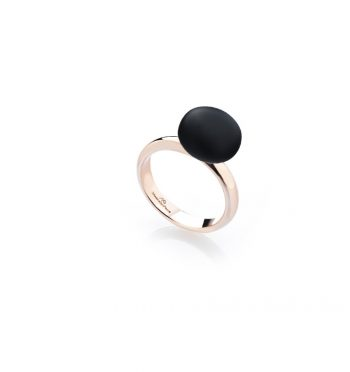 RING/MARCELLO PANE/ANAR020/RED SILVER - BLACK ROUND RUBBER