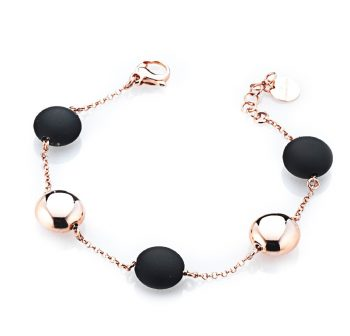 BRACELET/MARCELLO PANE/BRAR048/CHAIN WITH 2 RED SLV ROUND BUTTON & 3 BLACK ROUND RUBBER