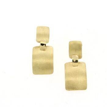 EARRING/DOUBLE/2 RECTANGLES SATINE-1(2*1.4cm) - 1(1.2*0.8cm) - 1 SML LOUSTRE