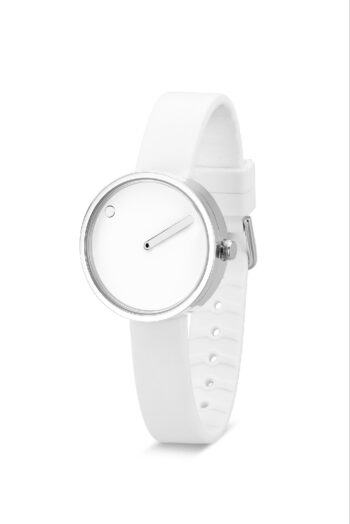 WATCH PICTO/43363-0212S/30mm/WHITE DIAL-POLISHED STEEL CASE/WHITE SILICONE STRAP