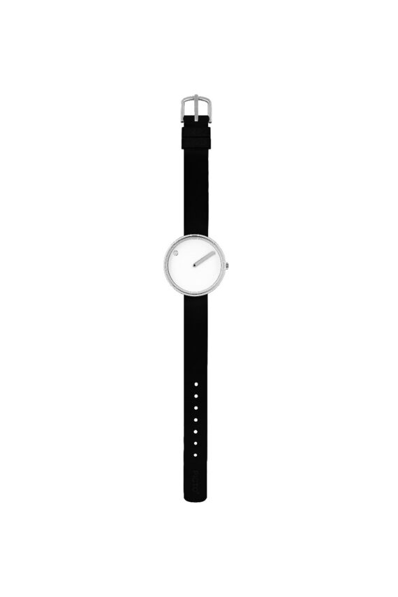 WATCH PICTO/43363-0112S/30mm/WHITE DIAL-POLISHED STEEL CASE/BLACK SILICONE STRAP