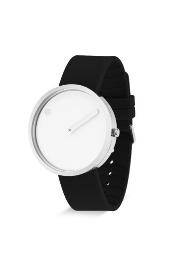 WATCH PICTO/43364-0120S/40mm/ WHITE DIAL- POLISHED STEEL CASE/BLACK SILICONE STRAP