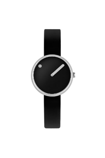WATCH PICTO/43369-0112S/30mm/BLACK DIAL-POLISHED STEEL CASE/BLACK SILICONE STRAP
