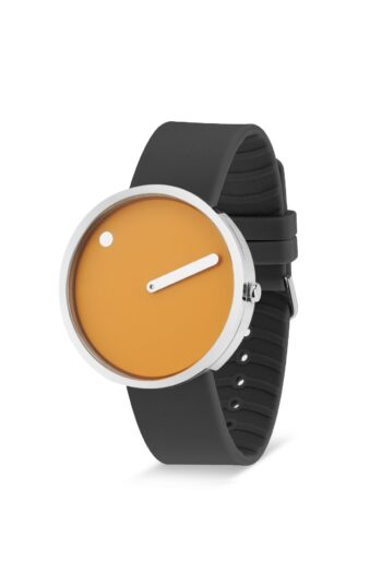 WATCH PICTO/43354-3420S/40mm/MUSTARD YELLOW DIAL-POLISHED STEEL CASE/THUNDER GREY SILICONE STRAP