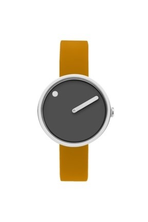 WATCH PICTO/43351-0712S/30mm/THUNDER GREY DIAL-POLISHED STEEL CASE/ MUSTARD YELLOW SILICONE STRAP