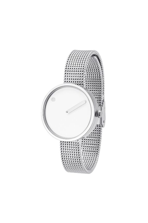 WATCH PICTO/43363-0812/30mm/WHITE DIAL-POLISHED STEEL CASE/STEEL MESH BAND