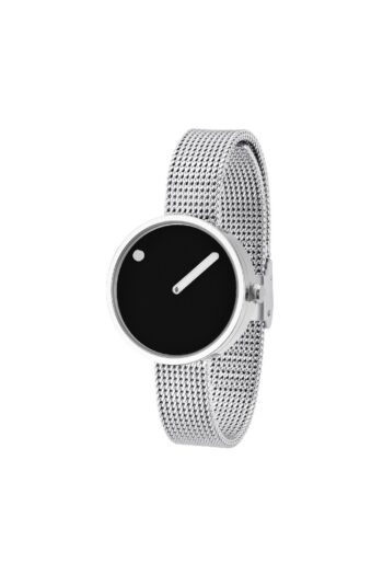 WATCH PICTO/43369-0812/30mm/BLACK DIAL-POLISHED STEEL CASE/STEEL MESH BAND