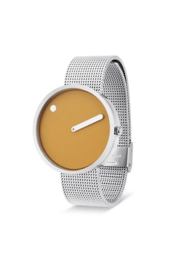 WATCH PICTO/43354-0820/40mm/MUSTARD YELLOW-DIAL POLISHED STEEL CASE/STEEL MESH BAND