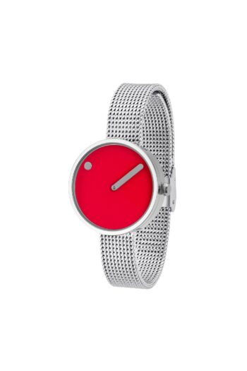 WATCH PICTO/43366-0812/30mm/RED DIAL-POLISHED STEEL CASE/STEEL MESH BAND