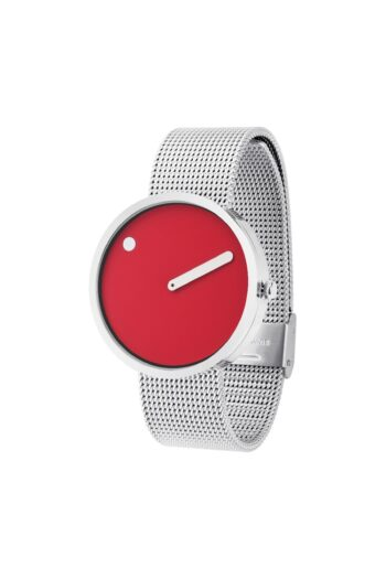 WATCH PICTO/43367-0820/40mm/RED DIAL-POLISHED STEEL CASE/STEEL MESH BAND