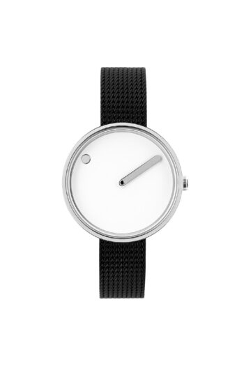 WATCH PICTO/43363-1012/30mm/ WHITE DIAL-POLISHED STEEL CASE/BLACK MESH BAND