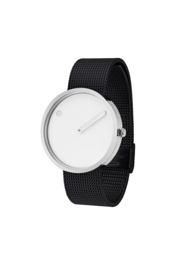 WATCH PICTO/43364-1020/40mm/ WHITE DIAL-POLISHED STEEL CASE/BLACK MESH BAND