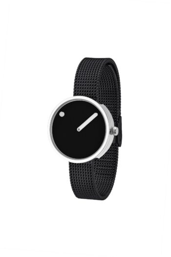 WATCH PICTO/43369-1012/30mm/BLACK DIAL-POLISHED STEEL CASE/BLACK MESH BAND