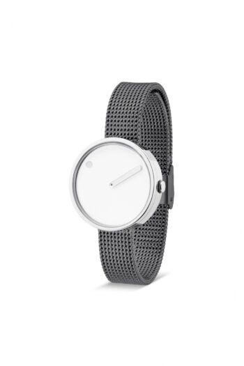 WATCH PICTO/43363-1212/30mm/WHITE DIAL-POLISHED STEEL CASE/GREY MESH BAND