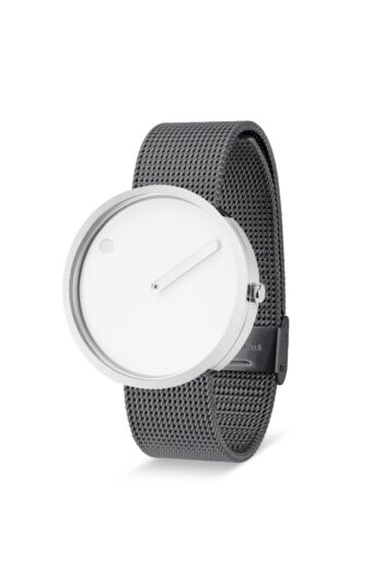 WATCH PICTO/43364-1220/40mm/WHITE DIAL- POLISHED STEEL CASE/GREY MESH BAND