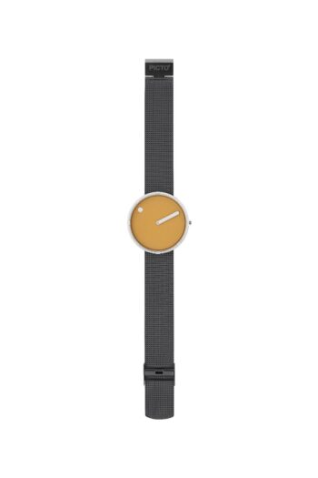 WATCH PICTO/43354-1220/40mm/MUSTARD YELLOW DIAL- POLISHED STEEL CASE/GREY MESH BAND