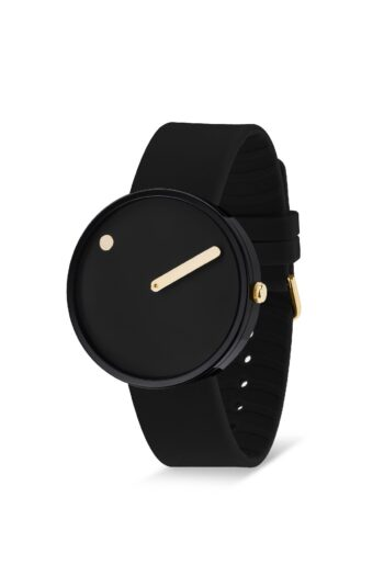 WATCH PICTO/43314-0120G/40mm/BLACK DIAL-POLISHED BLACK CASE/ BLACK SILICONE STRAP