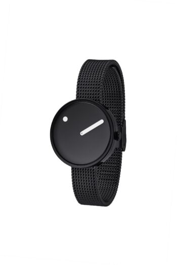 WATCH PICTO/43360-1012/30mm/BLACK DIAL-POLISHED BLACK CASE/BLACK MESH BAND