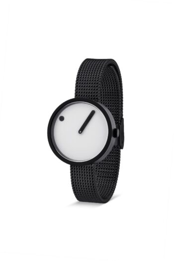 WATCH PICTO/43343-1012/30mm/WHITE DIAL-BLACK CASE/ BLACK MESH BAND